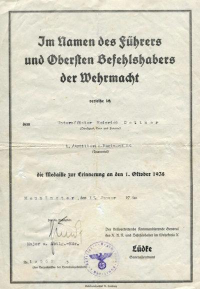 Наградные листы к медали «В память 1 октября 1938».
