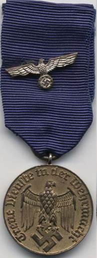 Аверс медали за 12 лет службы.