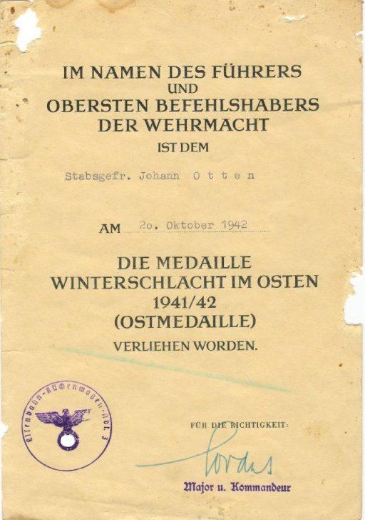 Наградные листы к медали «За зимнюю кампанию на Востоке1941/42г»