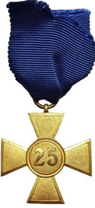 Реверс медали за 25 лет службы.
