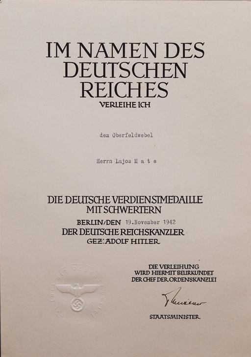 Наградной лист к Немецкой медали за заслуги Ордена немецкого Орла