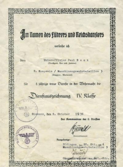 Наградные листы к медали «За верную службу в Вермахте» 4-года выслуги.