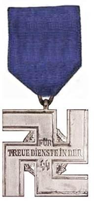 Реверс медали за 12 лет службы в СС.