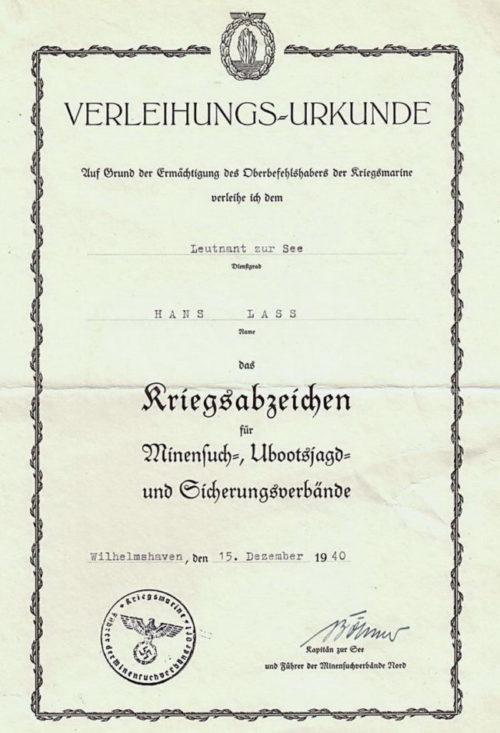 Наградные листы к знаку минных тральщиков