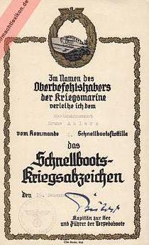 Наградной лист к Знаку торпедных катеров