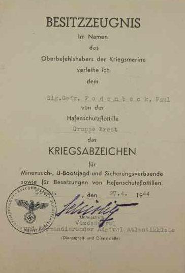 Наградные листы к Знаку подводника