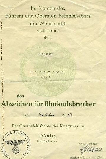 Наградные листы к знаку «За прорыв морской блокады».