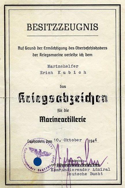 Наградной лист к знаку «Береговая (морская) артиллерия»