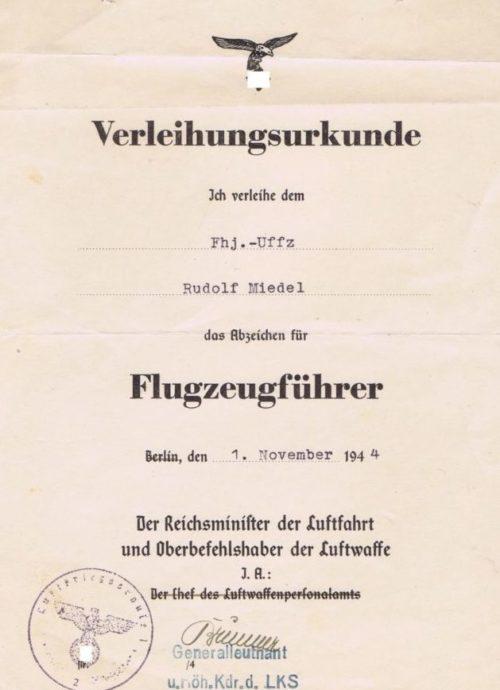 Наградной лист к знаку пилота