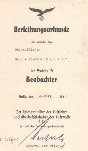 Наградной лист к знаку «Наблюдатель»