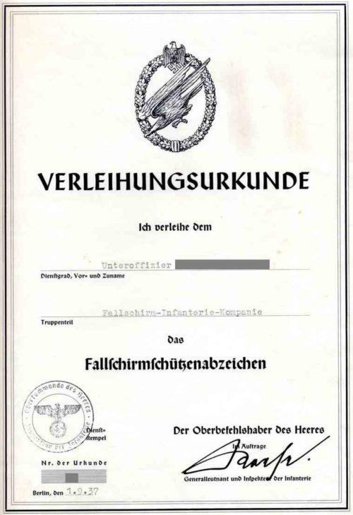 Наградные листы к знаку «Парашютист Люфтваффе».