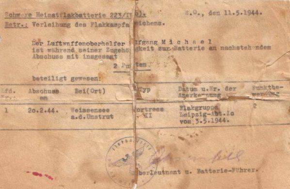 Справка о получении 2 балов за сбитый самолет для присуждения знака «Зенитная артиллерия Люфтваффе»
