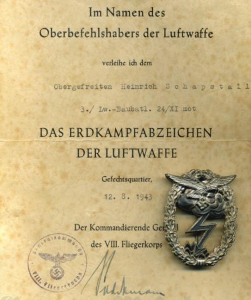 Наградные листы к знаку «За наземный бой»