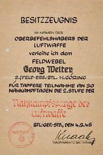 Наградные листы к знаку за ближний бой для Люфтваффе.