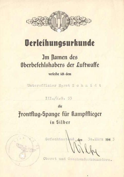 Наградные листы к шпанге для бомбардировщиков в серебре.