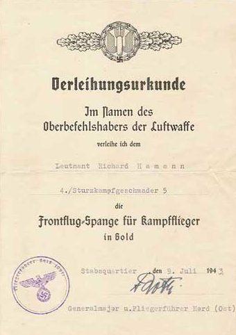 Наградные листы к шпанге для бомбардировщиков в золоте