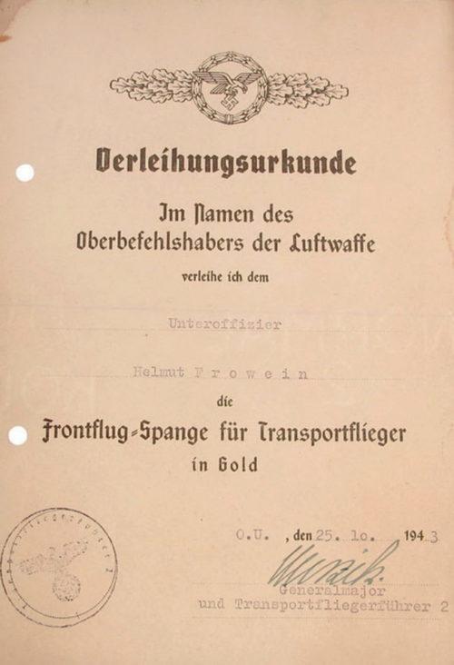 Наградной лист к шпанге для транспортной авиация и планеристов