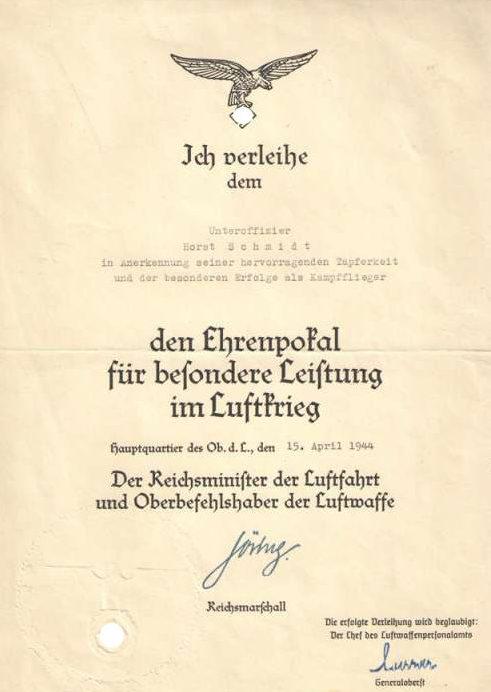 Наградной лист к Почетному Кубку Люфтваффе