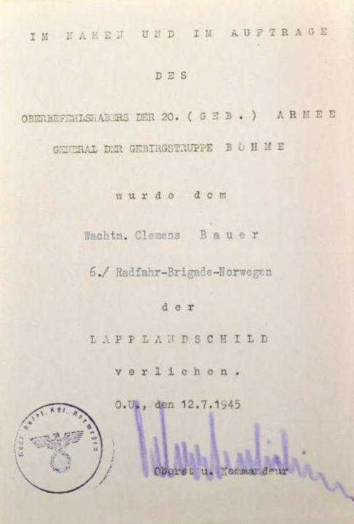 Наградные листы к щиту «Лапландия».