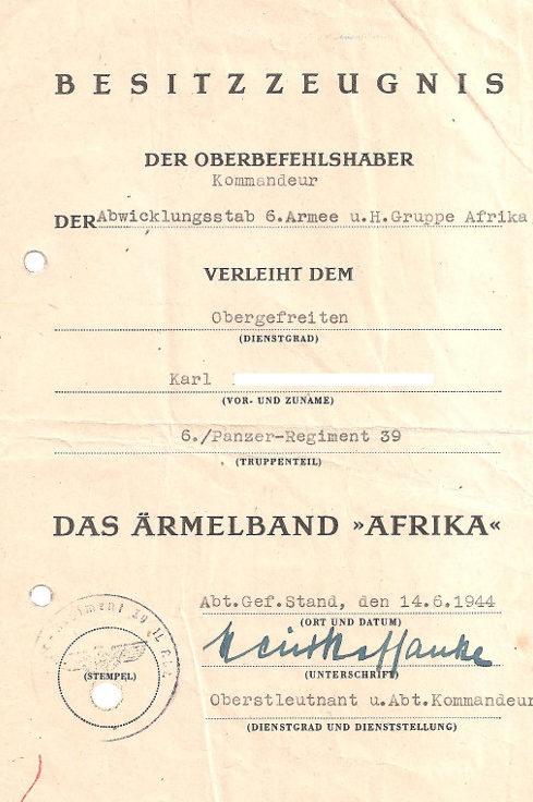 Наградные листы к манжетной ленте «Африка».
