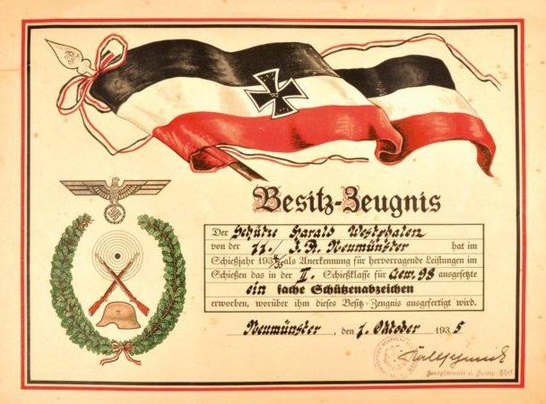 Наградные листы к аксельбантам за снайперскую стрельбу с карабина Mauser 98k