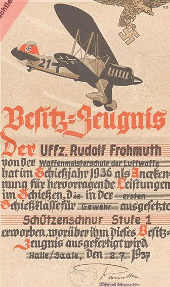 Наградной лист к аксельбантам за снайперскую стрельбу в Люфтваффе
