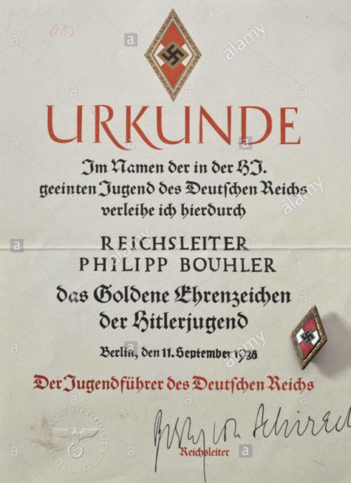 Наградной лист к золотому значку Гитлерюгенд