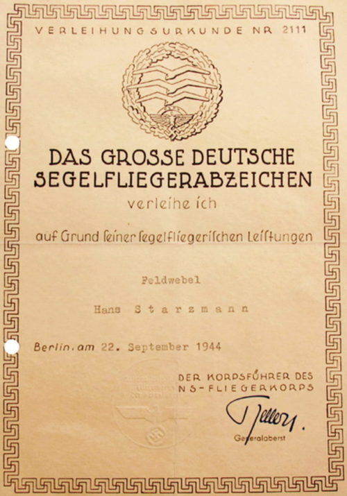 Наградной лист к знаку планериста NSFK