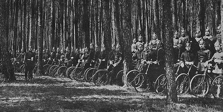Отряд велосипедистов в Арденнах. 1914 г