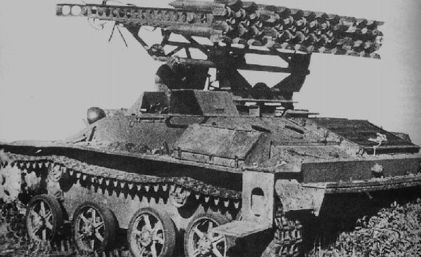 Реактивная пусковая установка БМ-8-24 на базе танка Т-40