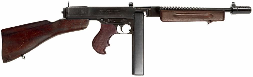 Пистолет-пулемет Thompson M-1928A1 с рожковым магазином на 30 патронов