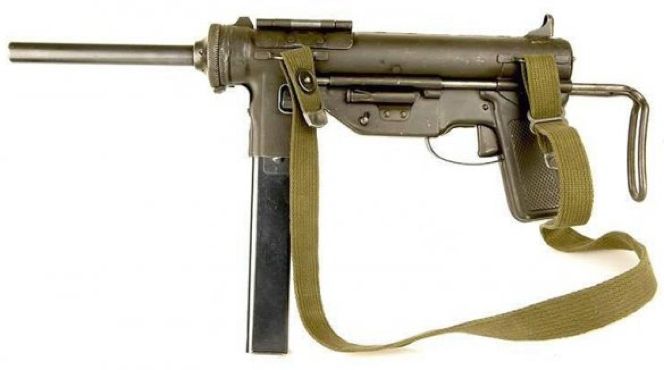 Пистолет-пулемет M-3 со сложенным прикладом