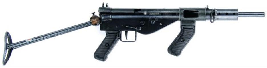 Пистолет-пулемет AUSTEN с откинутым прикладом