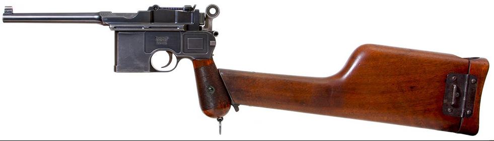 Пистолет Mauser C-96 с присоединенной кобурой-прикладом