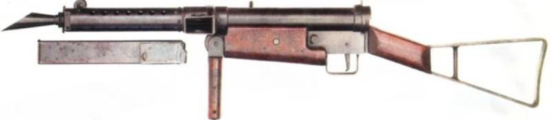 Пистолет-пулемет STEN Mk-I с откинутой передней ручкой