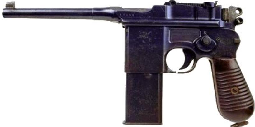 Пистолет Mauser C-96 model 712 - вариант с переводчиком режимов огня и отъемным магазином на 20 патронов
