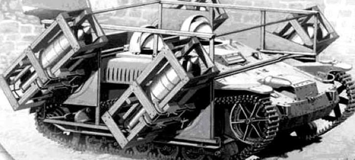 Самоходная пусковая установка Wurfrahmen-40 на базе трофейных Lorraine-37 и Renault UE