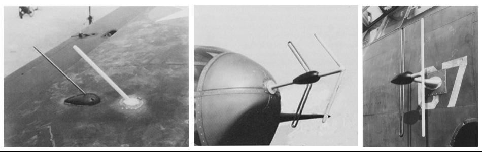 Антенны авиационной РЛС SCR-540, установленные на Р-70. Слева направо: приемная антенна на крыле, передающая антенна на носу фюзеляжа, приемная антенна на борту фюзеляжа