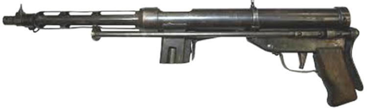 Вверху-пистолет-пулемет TZ-45 без магазина со сложенным прикладом