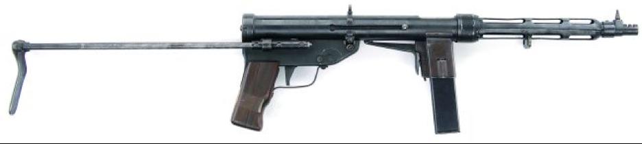 Вверху-пистолет-пулемет TZ-45 без магазина с откинутым прикладом