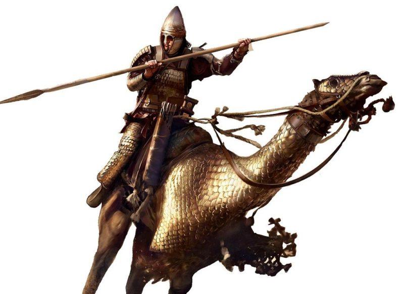 Верблюды были впервые одомашнены довольно давно, но лишь в XIII веке до н.э. семитские племена арамеев придумали использовать их для войны, вытеснив древних евреев за Иордан. Так появилась дромадерия (одногорбые верблюды для перевозки грузов и верховой езды). Причины такой задержки понятны из зоологии: верблюды медленно бегают (обычно до 13 км/ч, гоночные чистокровной махрийской породы - до 23), быстро устают при беге, пугливы, совершенно не способны научиться кусать или топтать вражескую пехоту. Впрочем, они выносливы при ходьбе и крайне эффективны при передвижении в пустыне, поэтому с давних времен использовались арабами, берберами и прочими туарегами. Арабские и берберские племена применяли верблюдов не только для переброски пехоты и грузов, но и в бою. Обычно на верблюде находилось два воина: погонщик с длинным копьём и лучник. Для ведения боевых действий со временем была выведена быстрая малогабаритная порода верблюдов, на которых размещался один всадник. В римские времена верблюды попали и в Европу. В битве с римлянами во II веке до н. э. сирийский царь Антиох III Великий использовал арабов на верблюдах, вооружённых особыми мечами длиной в 1,8 метра.