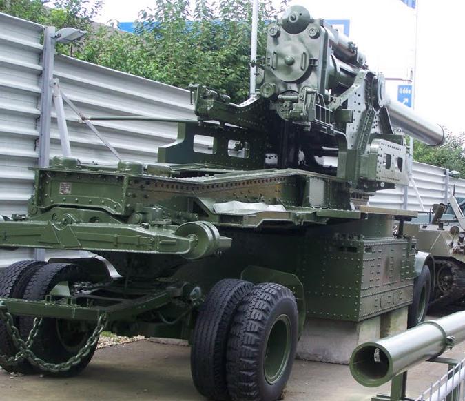 Тяжелая осадная пушка 21-cm Kanone-39 в транспортном положении
