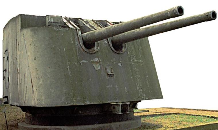 Орудие Б-13 обр. 1935 г. в береговой обороне. Двухорудийная башня.