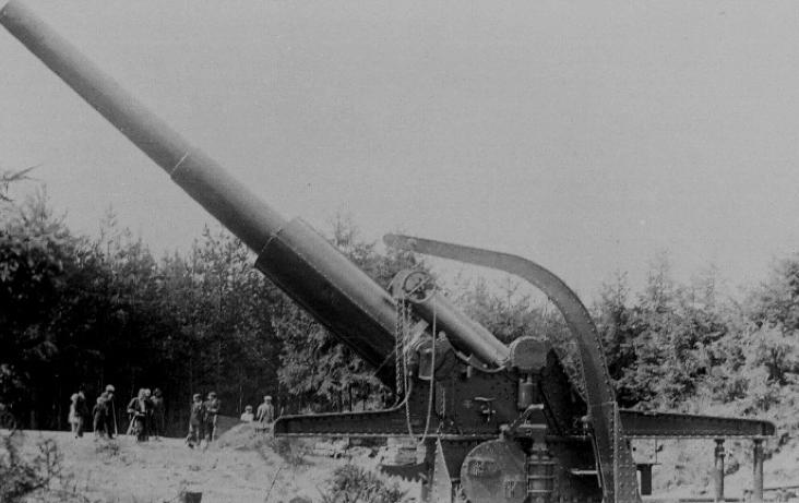 Тяжелая осадная пушка 24-cm Kanone M-16 в боевом положении