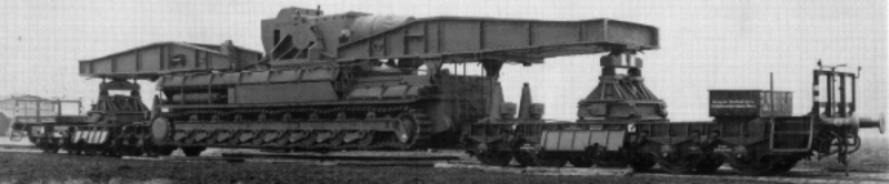 Транспортировка мортиры железной дорогой.