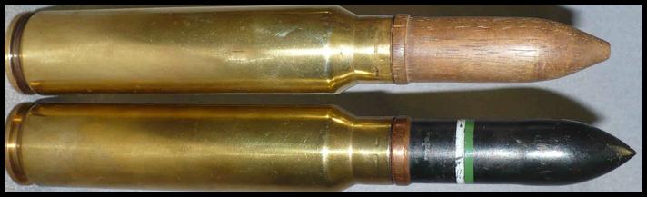 Вверху - учебный выстрел с деревянным снарядом 20х124 (125) SR. Внизу - с бронебойно-трассирующим снарядом