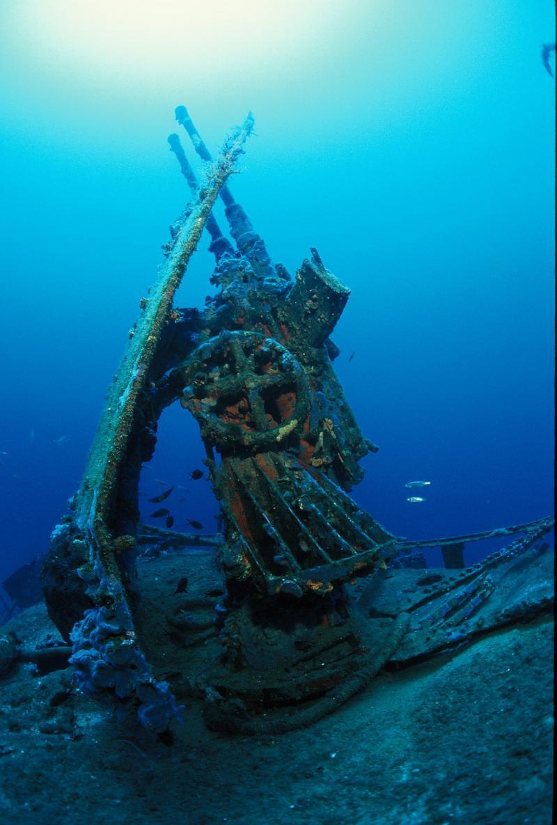 Frka Danijel. Зенитное орудие под водой.
