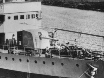 Корабельное орудие 12-cm/50 на голландском минном заградителе «Van der Zaan».