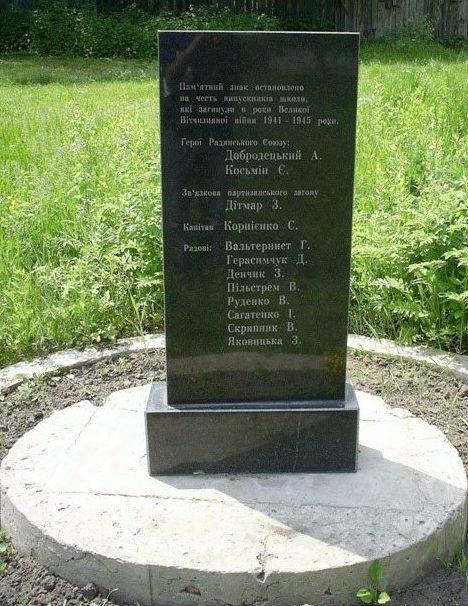 Памятный знак, установленный по улице Куриловская (Ленинградская), 27 погибшим во время войны выпускникам школы № 67