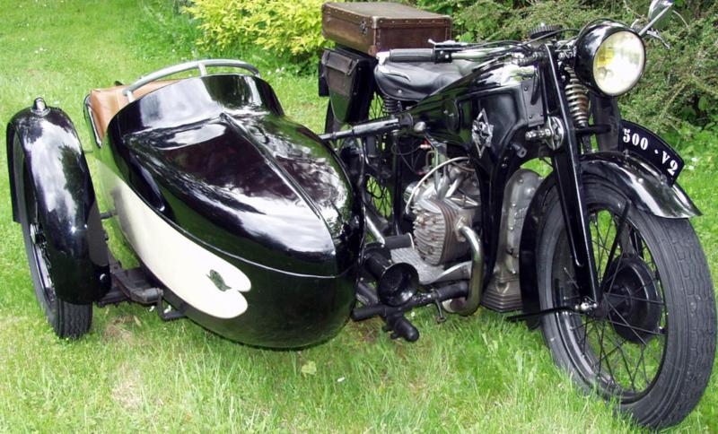 Мотоцикл Gnome-Rhone CV-2 с коляской